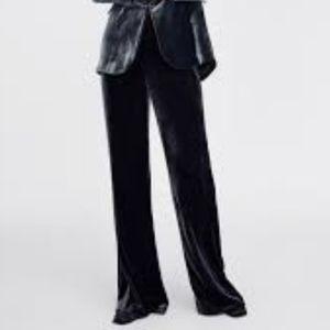 Zara Grey Velvet Wide leg trouser Size Large